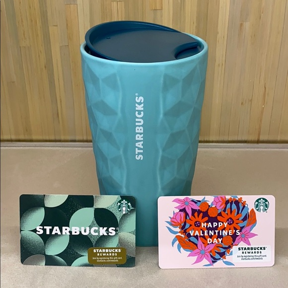 STARBUCKS CERAMIC CUP 3D 2021 teal VALENTINES Day
